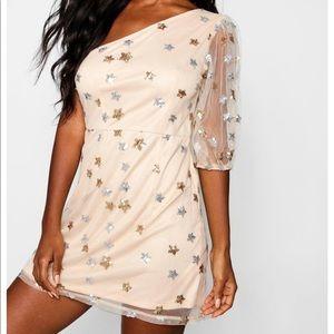 Boohoo Sequin Star One Shoulder Bodycon Dress